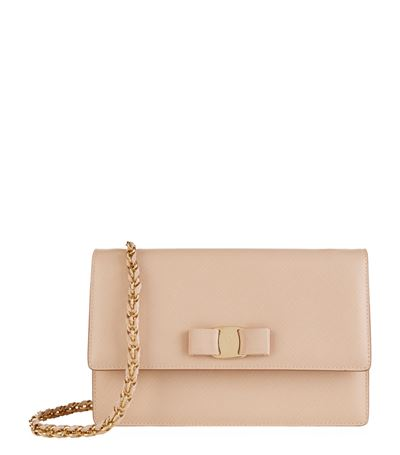 Ginny Small Flap Bag In Pink Calfskin in Neutrals