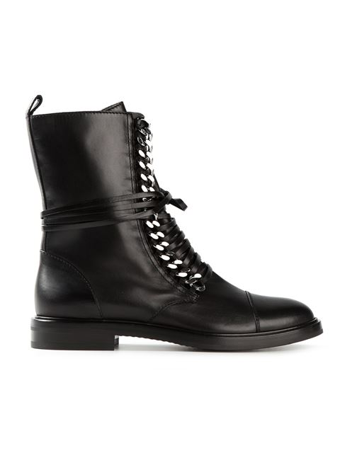30Mm Chain Detail Leather Combat Boots, Black from CASADEI