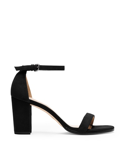 Nearlynude Suede Ankle Strap Block Heel Sandals in Black