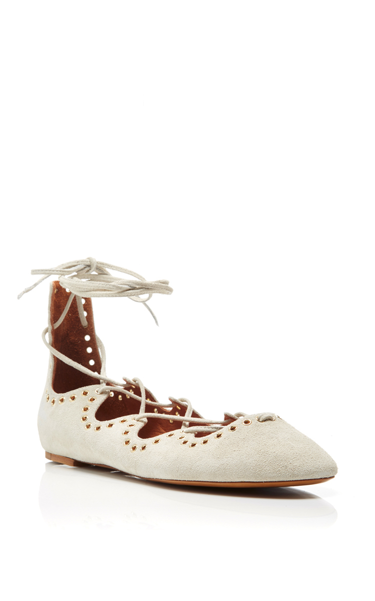 Isabel Marant Embossed Pointed-Toe Flats