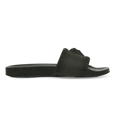 VERSACE Men'S Medusa & Greek Key Shower Slide Sandal, Khaki