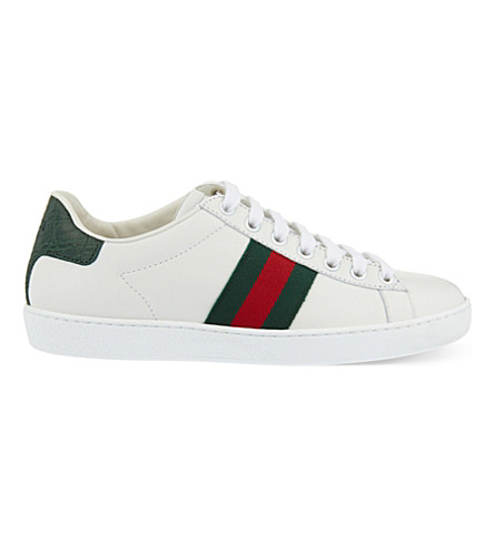New Ace Leather Sneakers With Web Detail, White