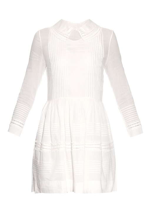 Double-Collar Cotton Dress, White