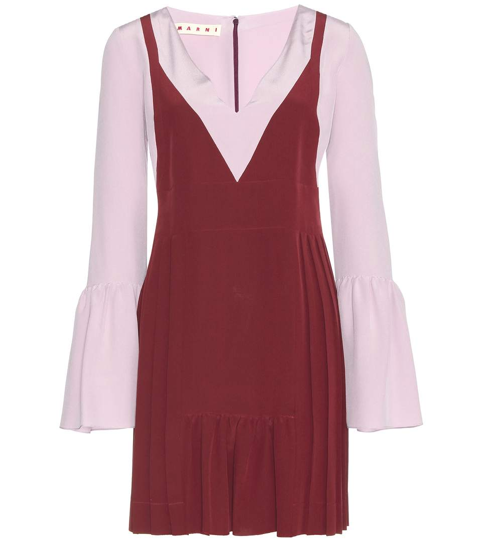 Contrast-Panel Crepe Tunic Dress in Red