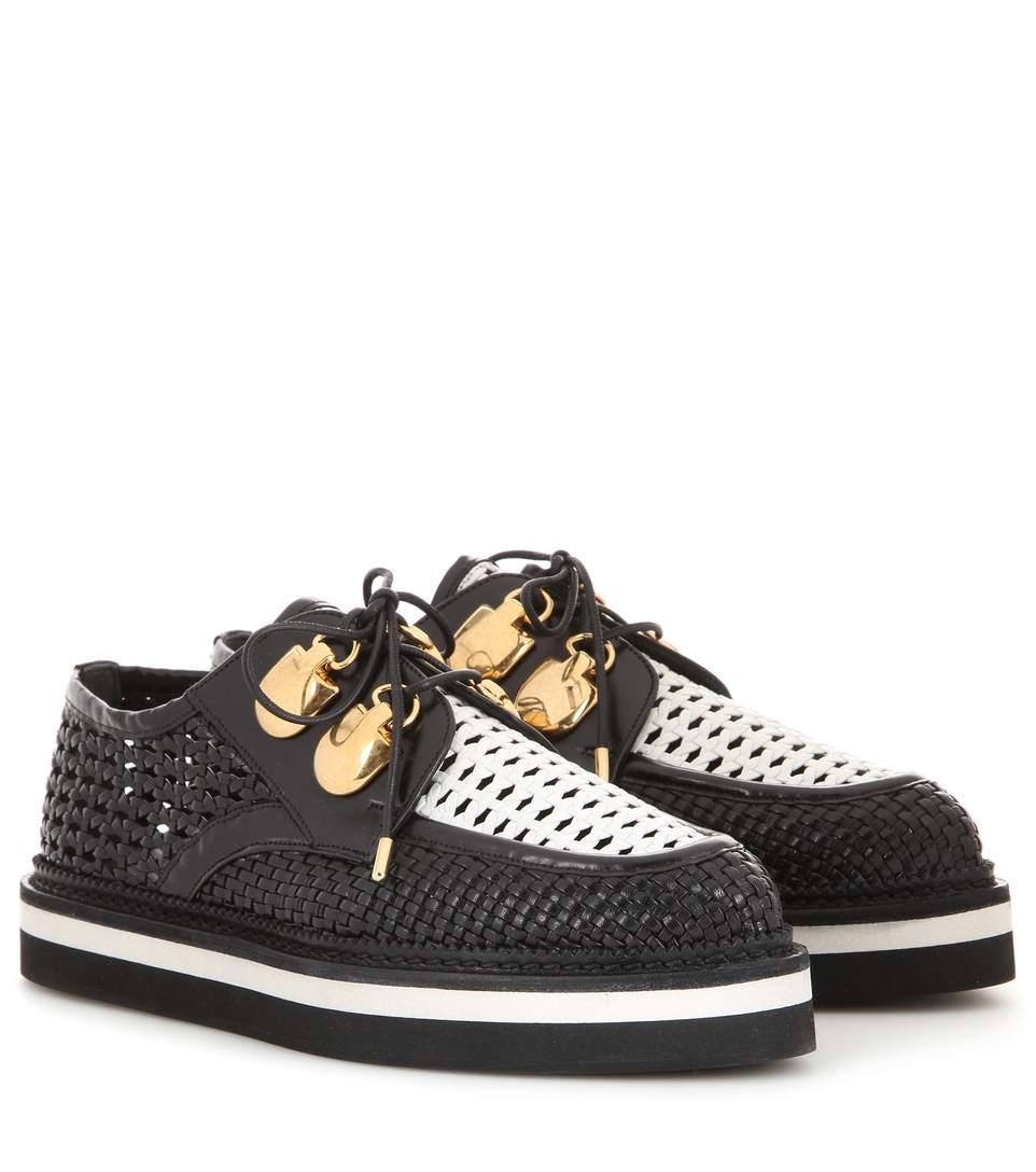 Leather Platform Brogues, Black