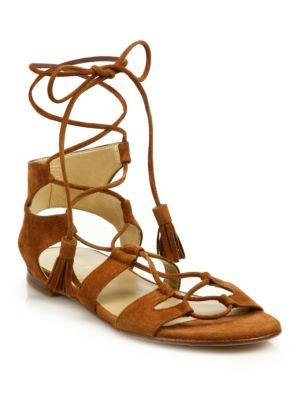 Romanflat Suede Flat Gladiator Sandal, Amaretto, Brown