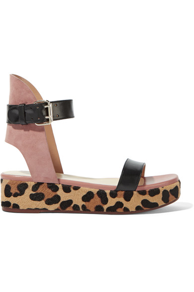Leather, Suede And Leopard-Print Goat Hair Platform Sandals, Black