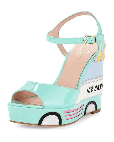 KATE SPADE 'Dotty' Wedge Sandal (Women) in Mint Liquer