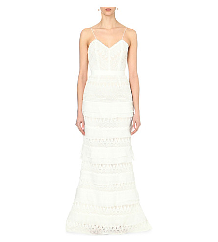 Penelope Tiered Crepon-Trimmed Guipure Lace Gown in White