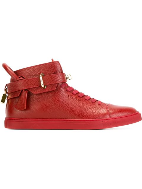 BUSCEMI Men'S 100Mm High-Top Leather Sneakers With Padlock, Black in Red