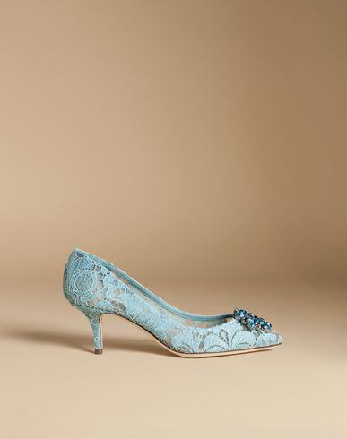 Dolce E Gabbana Women'S  Light Blue Fabric Pumps