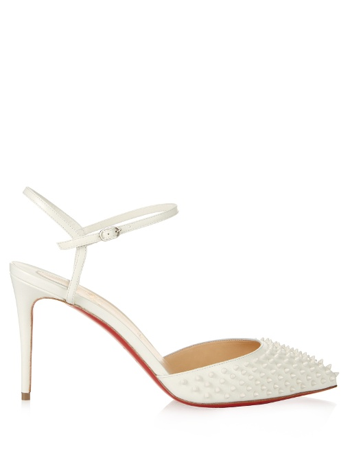 CHRISTIAN LOUBOUTIN Baila Spiked Patent Leather Ankle-Strap Pumps in Neigewhite