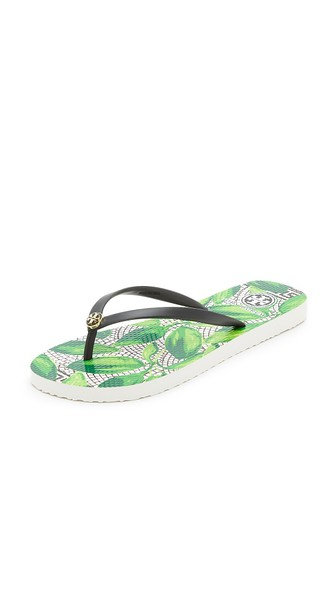 b754d4bc4 Tory Burch Thin Leaf-Print Flip-Flop Sandal