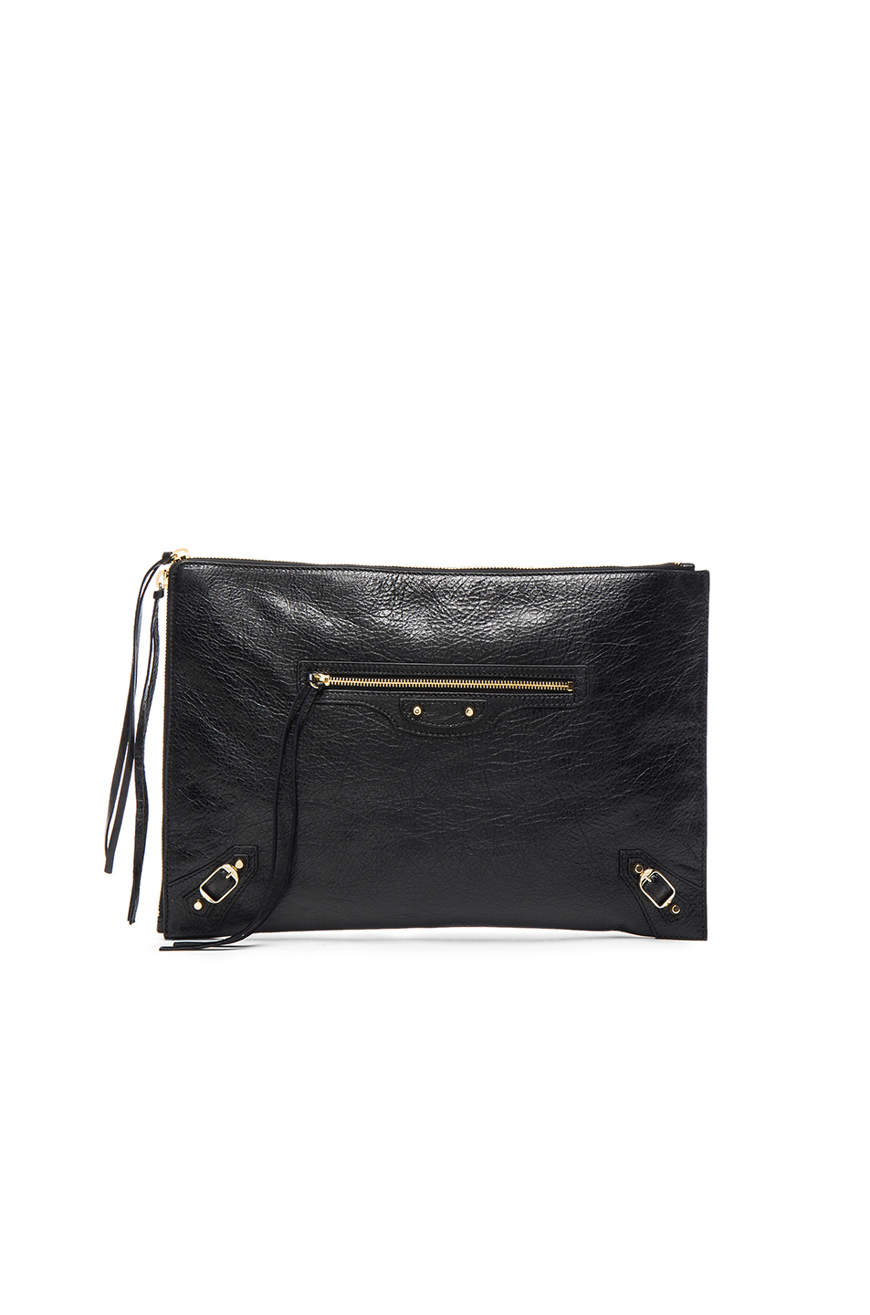 Classic Silver Zip Large Pouch - Black