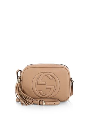 Soho Disco Textured-Leather Shoulder Bag, Rose Beige Leather