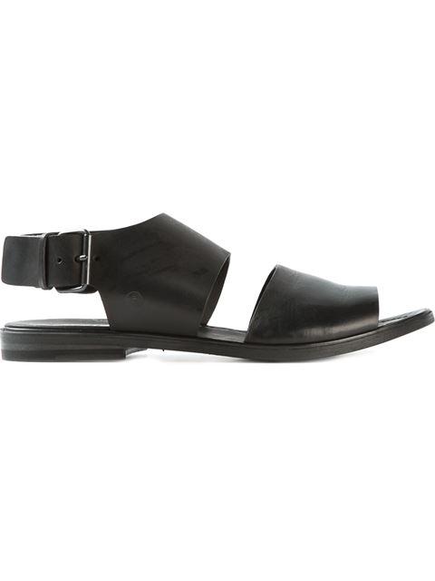 MARSÈLL Black Leather Buckled Strap Sandals
