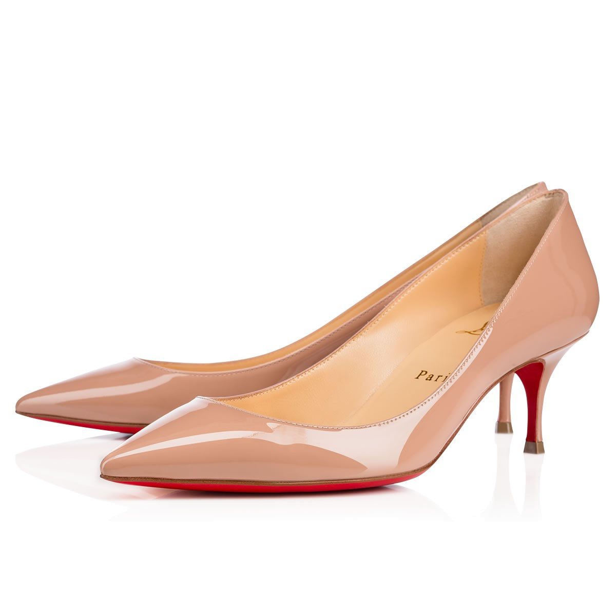 CHRISTIAN LOUBOUTIN 'Pigalle Follies' Pointy Toe Pump, Nude Patent