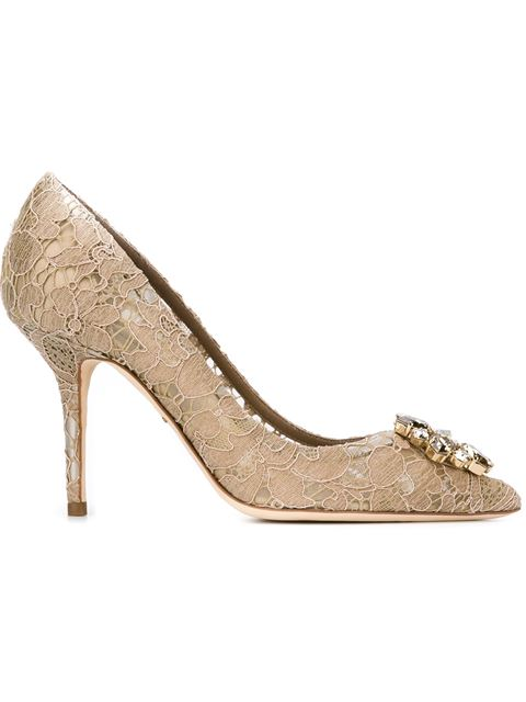 Court Shoe In Taormina Lurex Lace With Crystals in Neutrals