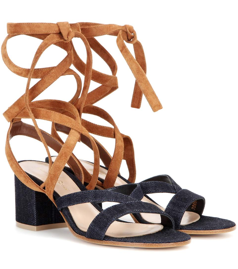 Janis Low Denim And Suede Sandals, Blue
