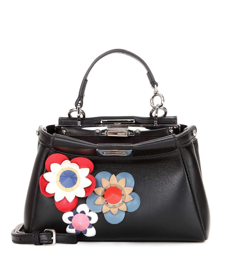 a017e515467b FENDI Micro Peekaboo Embellished Leather Shoulder Bag
