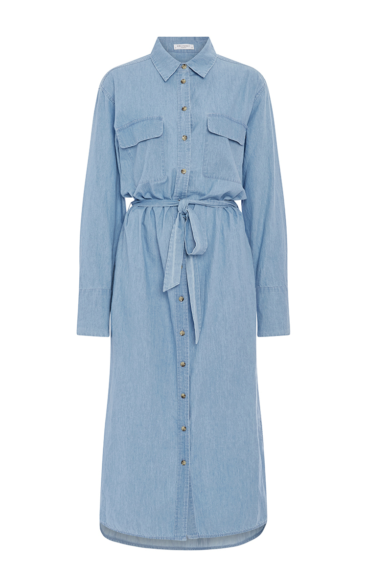 Equipment Delany Denim Shirt Dress With Waist Tie Modesens