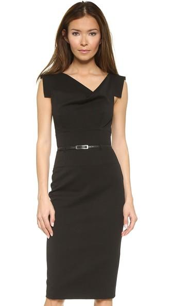 Jackie O Belted Dress in Black