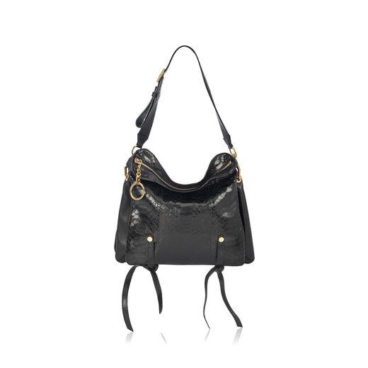 95b29c00e23 Jimmy Choo Mardy M Black Python And Nappa Leather Shoulder Bag In Black  Black