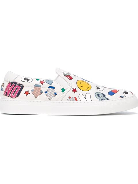 All Over Stickers Leather Low-Top Sneakers in White
