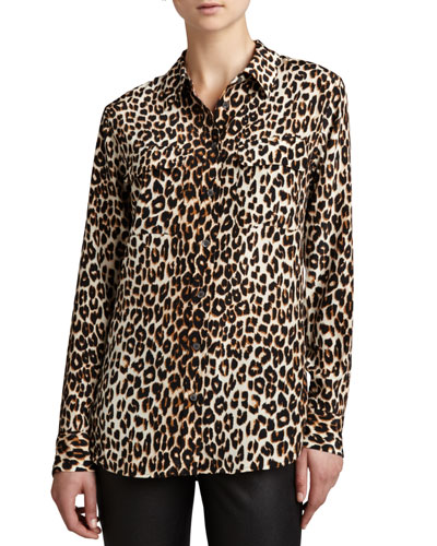 Kate Moss Slim Signature Blouse With Removable Tie, Natural