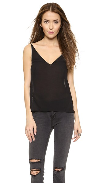'Lucy' Velvet Front Camisole, Black