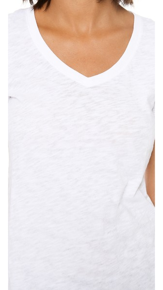 Cashmere V-Neck Short-Sleeve Sweater Top in White