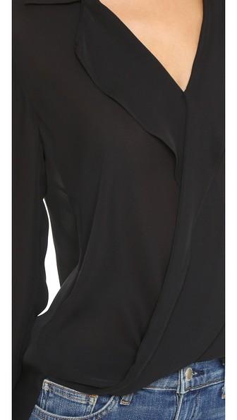 Rita Draped Silk Blouse - Black Size Xxs in Blue
