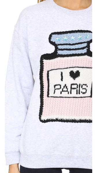 MICHAELA BUERGER I Love Paris Sweatshirt in Light Grey