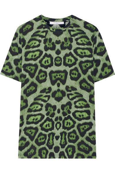 GIVENCHY T-Shirt In Green Leopard-Print Cotton-Jersey, Green Multi