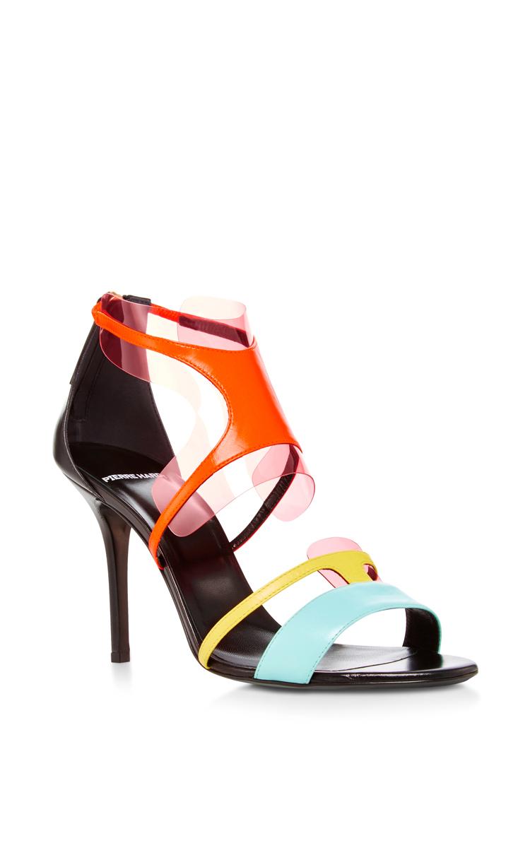 Multi Pool Shades Leather And Pvc Sandal, Multicolour