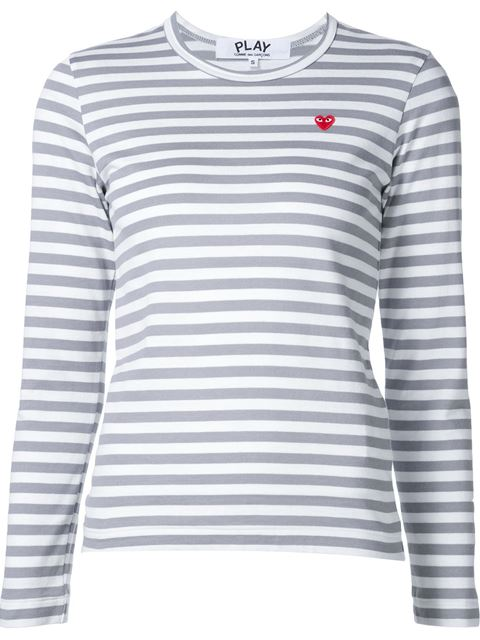Comme Des Garcons Play White And Grey Striped Heart Patch T-Shirt