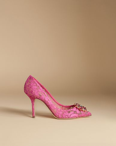 Court Shoe In Taormina Lace With Crystals in Pink