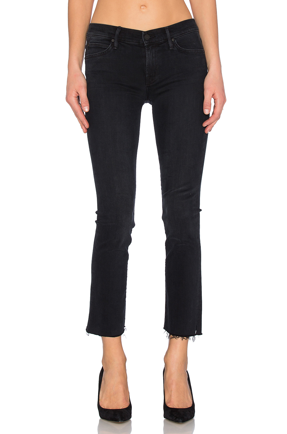 The Hustler Distressed Cropped High-Rise Flared Jeans, Black