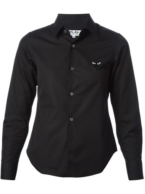 Comme Des Garcons Play Black Poplin Small Heart Shirt