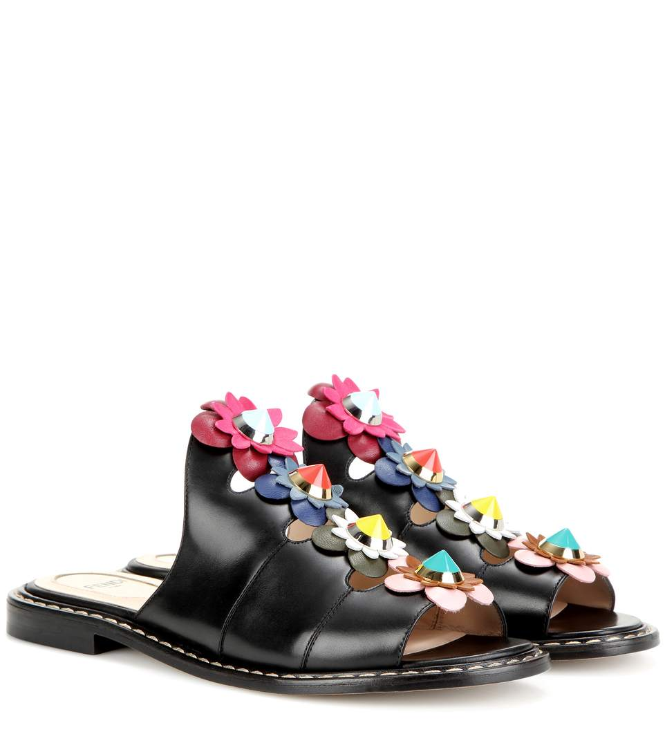 Free Shipping In China Fendi Floral Leather Sandals Shop For Online onxBq