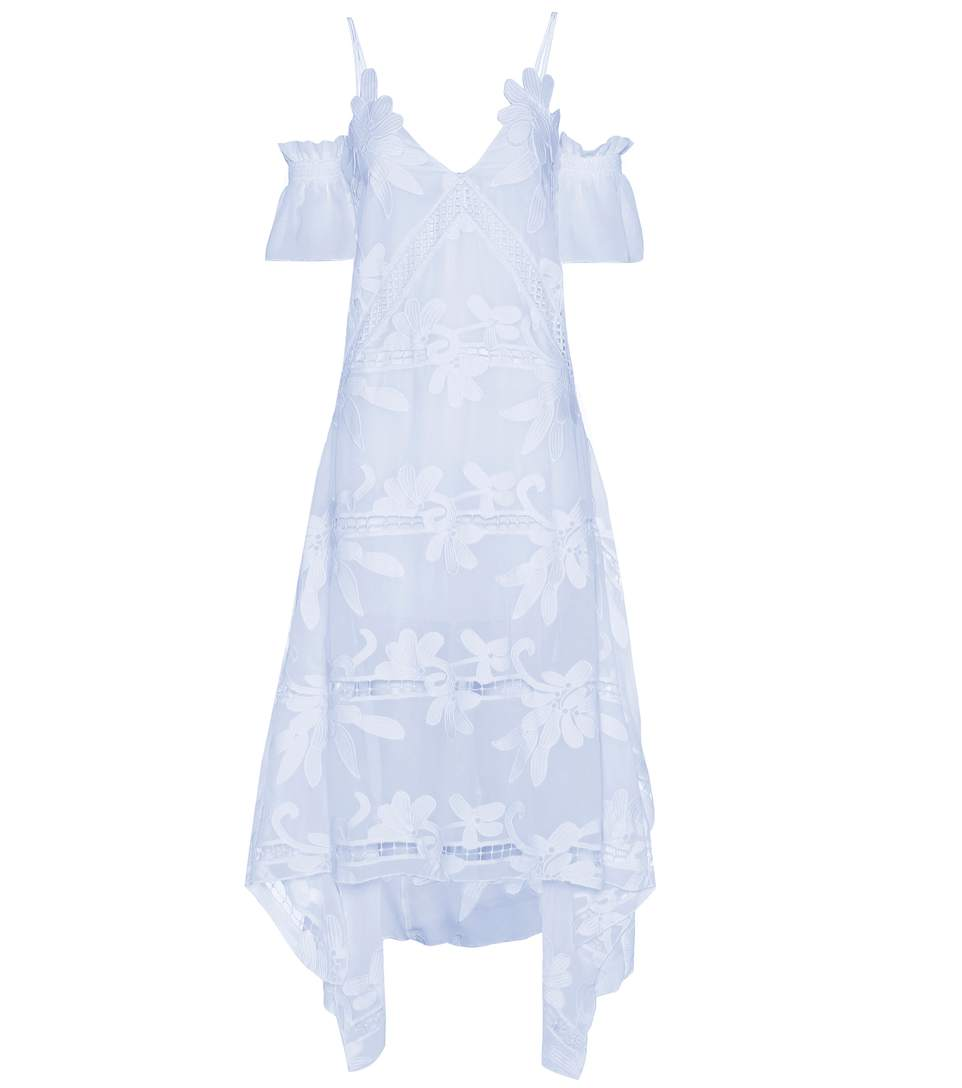 SELF-PORTRAIT Floral Embroidered Chiffon Midi Dress, Light Blue