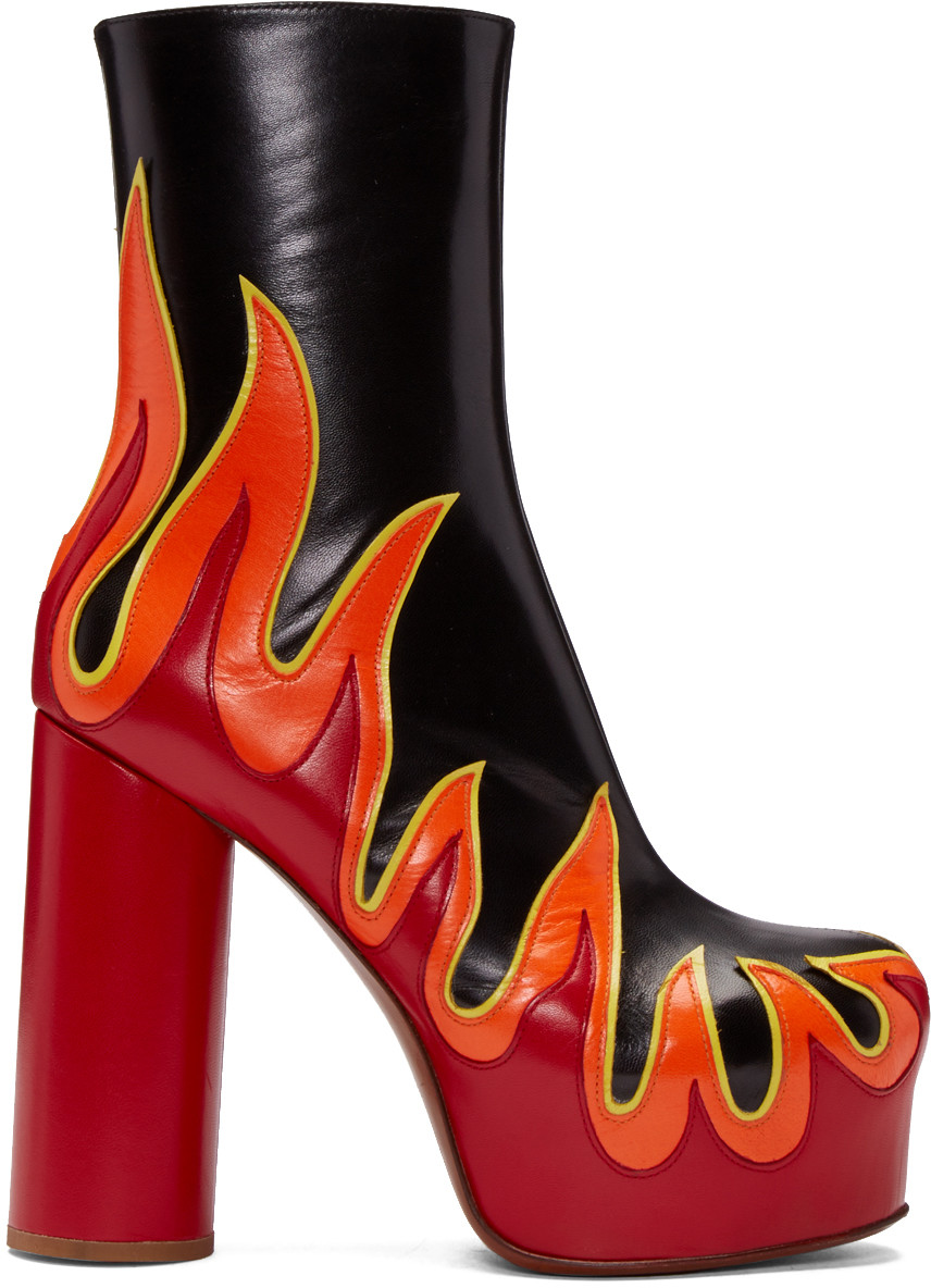 Ssense Exclusive Black & Red Leather Flame Boots