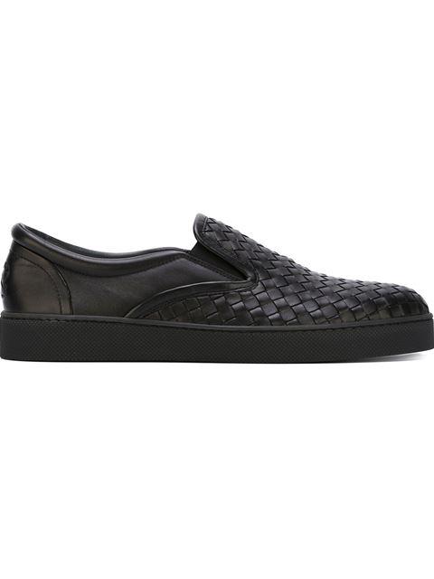 Dodger Slip-On Intrecciato Leather Trainers in Black