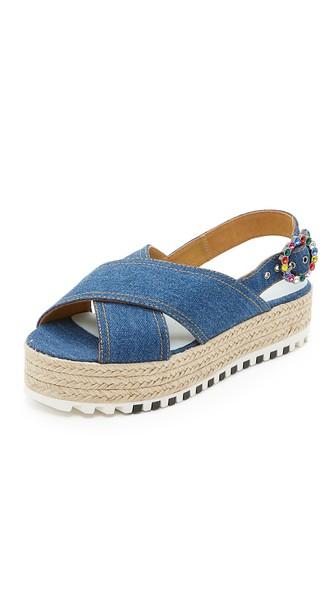 Beverly Platform Espadrille Sandals, Denim