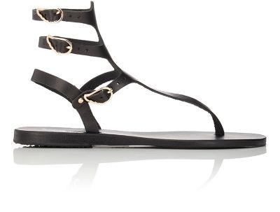 ANCIENT GREEK SANDALS Eyes High Ceramic-Detailed Leather Sandals in Black