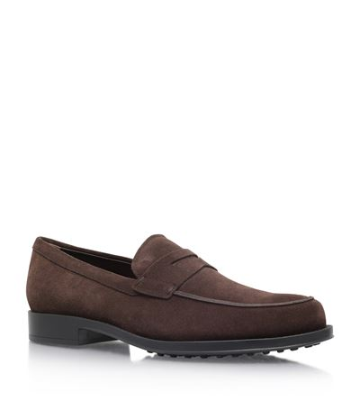 TOD'S Suede Penny Loafers, Brown