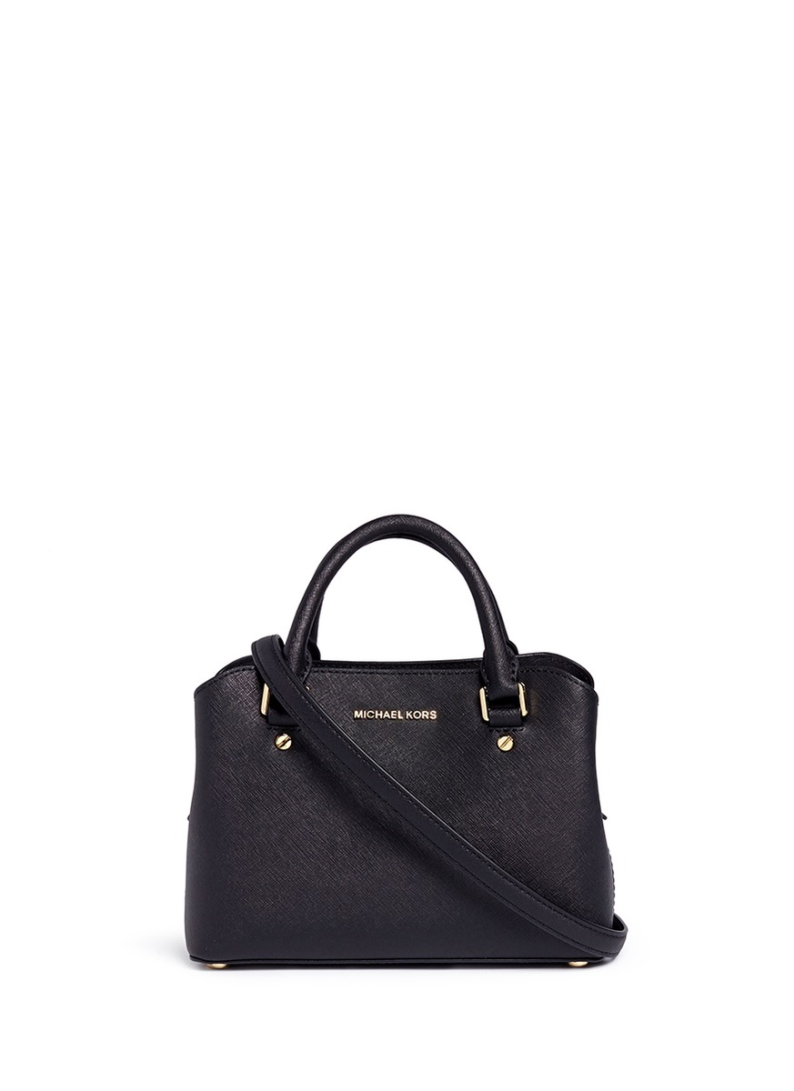 MICHAEL KORS 'Savannah' Small Saffiano Leather Satchel, Black