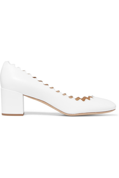 Lauren Scalloped Leather Pumps, White Cloud