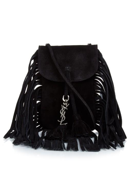 f26c1446b344 Saint Laurent Anita Mini Flat Suede Shoulder Bag With Fringe