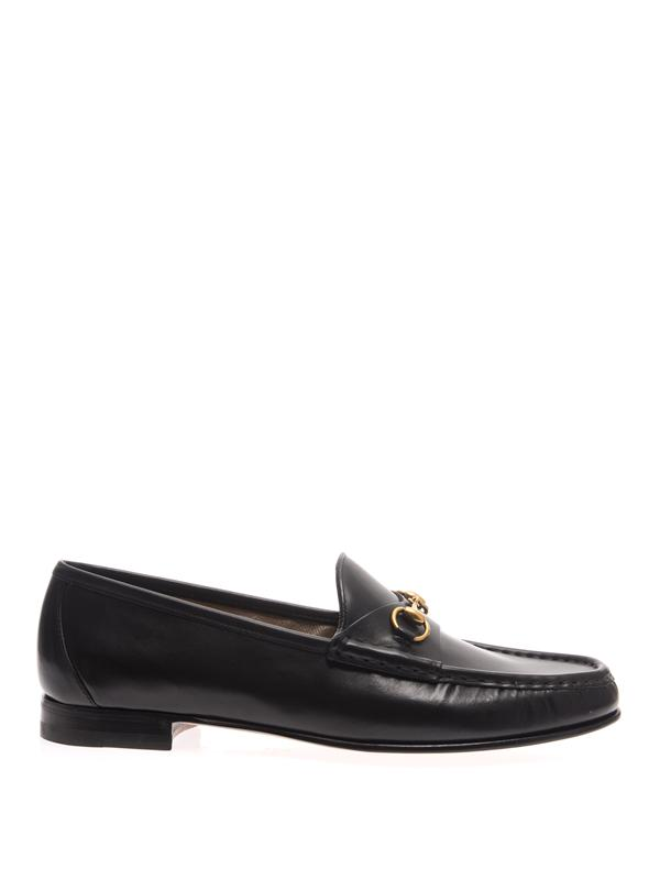 Brixton Horsebit-Detailed Leather Collapsible-Heel Loafers in Black